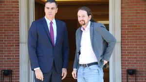 Pedro Sánchez i Pablo Iglesias en una trobada al Palau de la Moncloa