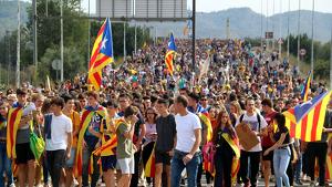 Imatge d'una manifestació independentista contra la sentència del procés