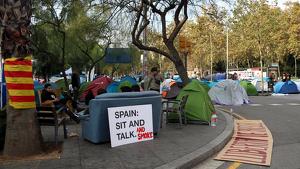Un dels punts més vigilats durant el 10-N serà l'acampada de plaça Universitat