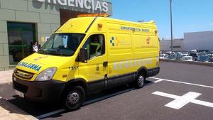 Una ambulancia de Soporte Vital Básico del Servicio de Urgencias Canario