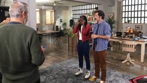 Yolanda Sey i Guillem Albà rodant 'El llenguado' TVC