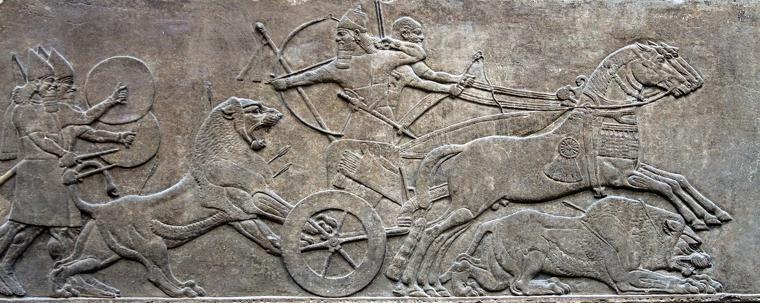 La caça del lleó, relleu del Palau Nord de Nínive, conservat al Museu Britànic