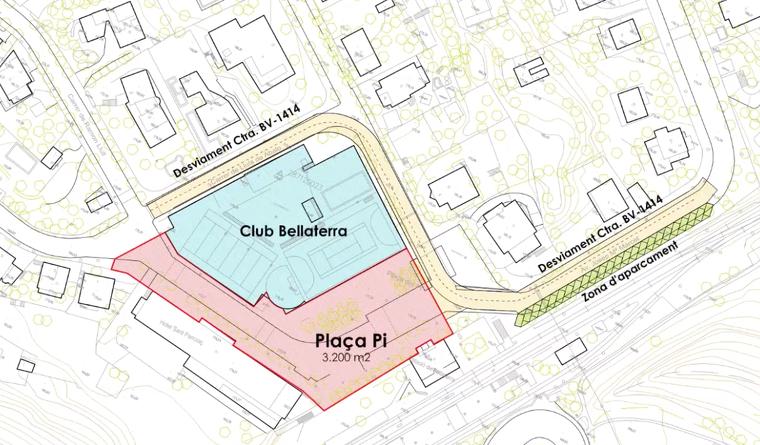 Projecte de desviament de la carretera: en vermell, la zona per a vianants; en verd, l'aparcament extra projectat