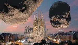 El sistema de asteroides Didymos y la Sagrada Familia en Barcelona