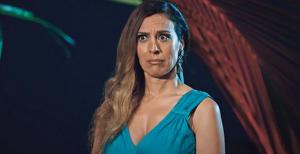 Mónica naranjo reaccionando hacia un comentario de Gonzalo en La isla de las tentaciones el día 30 de enero de 2020