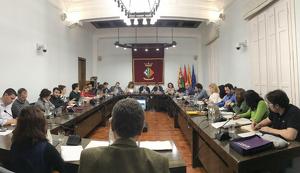 La sala plens durant el ple municipal del mes de gener