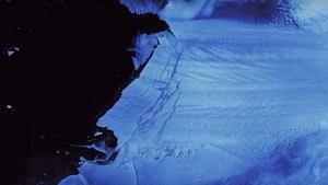 Imagen del glaciar Pine Island de la Antártida roto