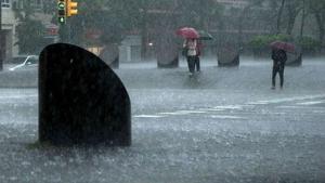 Imagen de un día de lluvia en la ciudad de Barcelona