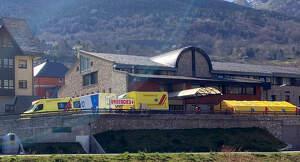 Pla general de l'aparcament de l'Hospital de Vielha amb un hospital de campanya