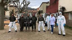 El Ejército desinfecta el Centre Geriatric del Pirineu en la Pobla de Segur (Lleida), por coronavirus.