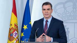 El presidente del gobierno español, Pedro Sánchez, durante una comparecencia por el Coronavirus