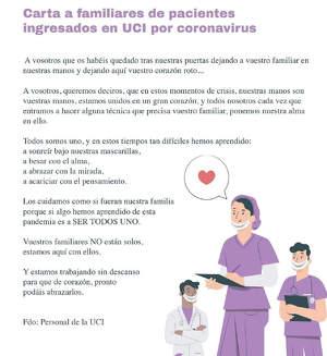 Carta de los profesionales de la UCI a las familias de los ingresados por Coronavirus