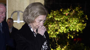 La reina Sofía durante el funeral de Plácido Arango en Madrid. 17 de febrero de 2020