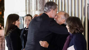 King Felipe VI and Queen Letizia arrive at the funeral in memory of Placido Arango in Madrid, March 4, 2020