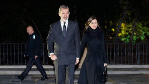 King Felipe VI and Queen Letizia arrive at the funeral in memory of Placido Arango in Madrid, March 4 2020