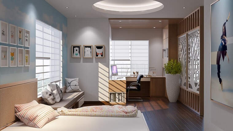 A bedroom decorated very posh