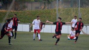 El CF Reus B celebra un dels gols anotats