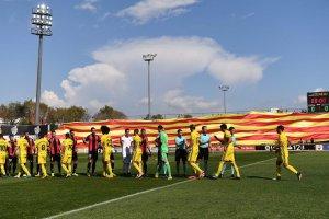 Bandera catalana que es va desplegar al partit contra l'Osasuna