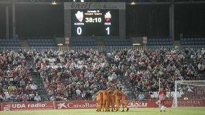 El 0-1 lluint en el gran marcador de l'Estadio Juegos del Mediterráneo