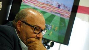 Joan Oliver durant la compareixença de premsa d'aquesta tarda