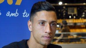Maikel Mesa durant l'entrevista al Sempre Nàstic