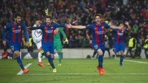 Sergi Roberto després de marcar l'històric 6 a 1 contra el PSG