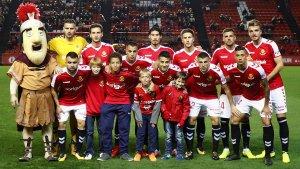 Onze del Nàstic abans de jugar contra el Lorca FC
