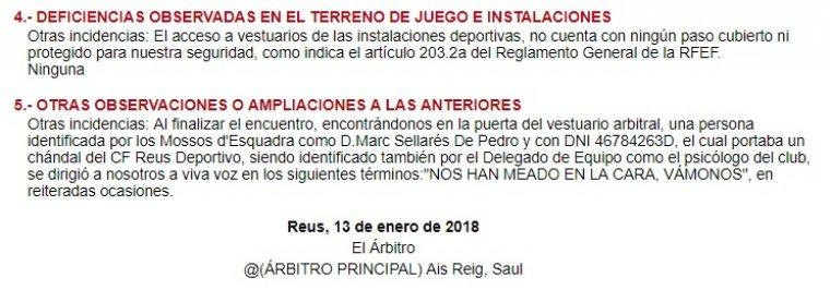 Acta arbitral de Saúl Ais Reig
