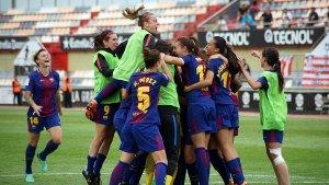 El Barça celebrant la classificació per a la final de la Copa de la Reina