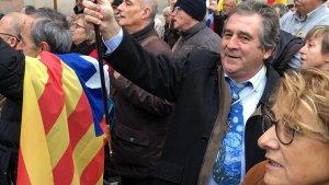 Josep Andreu a la concentració de suport a Forcadell, a Barcelona.