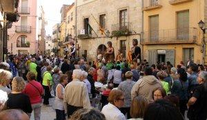 La plaça de la Vila de l'Espluga durant la trobada.