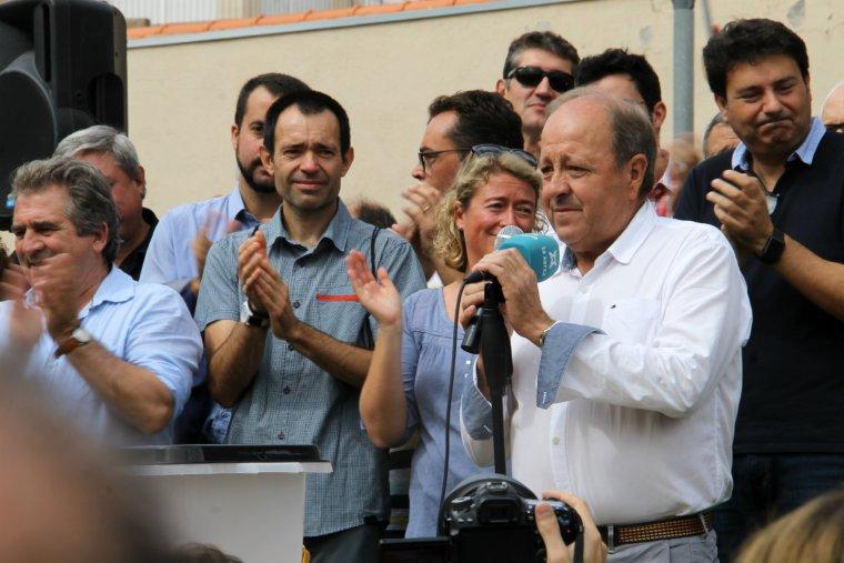 L'alcalde de Sarral, Josep Amill, durant l'acte.