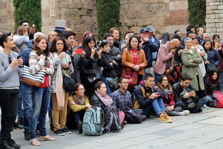 Desenes de turistes fotografiant als gegants.