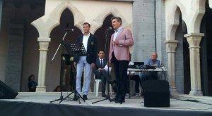 Josep M. Cardona i Miguel Font en un concert aquest estiu amb motiu de les Festes de la Serra.