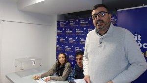Marc Vinya, aquest vespre, dirigint-se a la militància del PDECat a Montblanc.