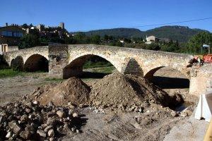 Pla general de les actuacions a l'entorn del pont vell de Montblanc, el 6 de setembre del 2016.