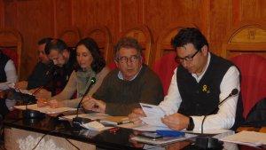 Josep Andreu, al plenari d'ahir, 11 d'abril, de l'Ajuntament de Montblanc.