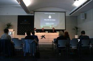Acte de presentació del VI Festival de Música Antiga del Monestir de Poblet, amb la presència del pare abat Octavi Vilà i el mestre Jordi Savall.