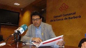 El president del Consell Comarcal de la Conca, Francesc Benet, durant la presentació del pla estratègic.