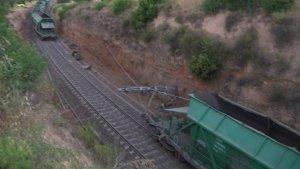 El tren, descarrilat a Capçanes.