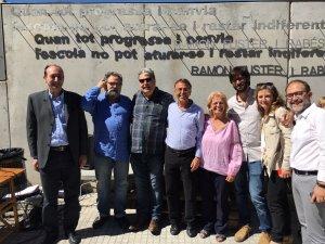 (d'esquerra a dreta) Quim Vidal, Ignasi Roda, Josep Lluís Riart, Josep Maria Riba, Maria Fuster, Guillem Fuster, Rosa Roda i David Sierra