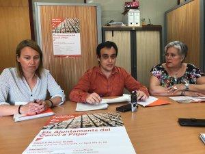 (d'esquerra a dreta) Sònia Rodríguez, Pau Hortolà i Núria Martínez, regidors de Cs a l'Ajuntament de Cerdanyola