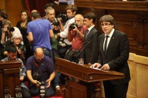 Carles Puigdemont, durant la seva compareixença al Parlament