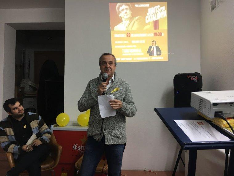 L'exalcalde de Cerdanyola Toni Morral durant el discurs de presentació de campanya de Junts per Catalunya per les eleccions del 21D, per les quals concorrerà com a número 18 per Barcelona