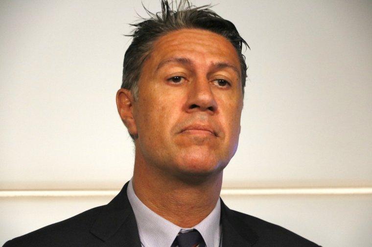 Primer pla del president del PP català , Xavier Garcia Albiol, a la UAB