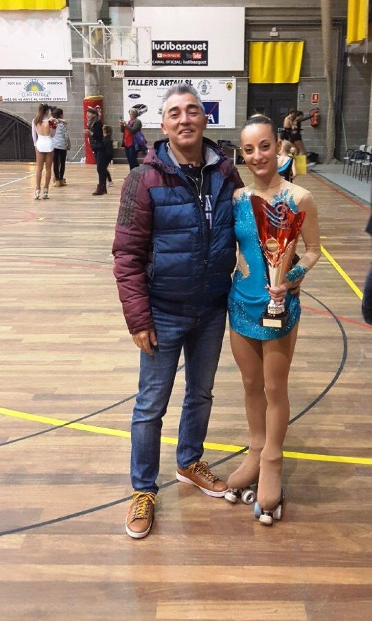 La patinadora i l'entrenador a Girona
