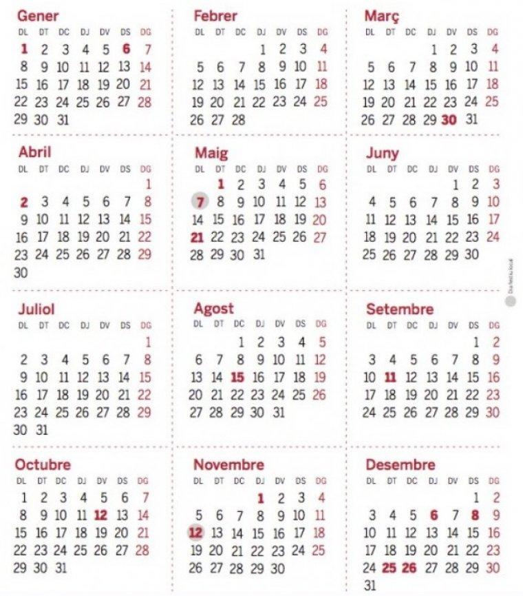 Part del calendari del TOT. Descarrega'l més a baix