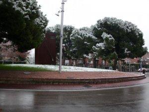 La plaça Marconi nevada
