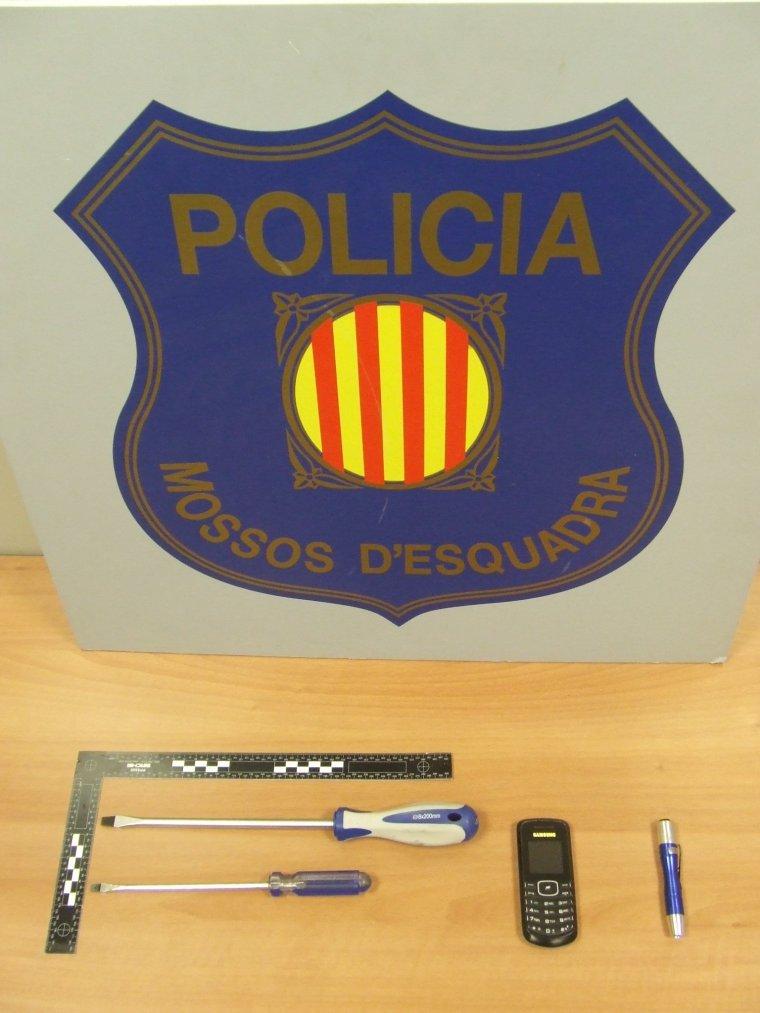 Els objectes robats que es van recuperar després de la detenció