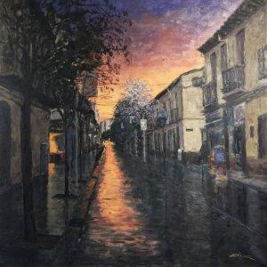 El carrer de Sant Ramon en un dels quadres de Méndez